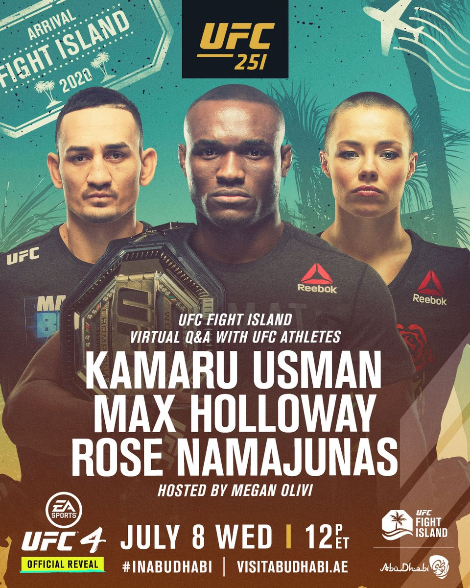 Get your #UFCFightIsland questions ready! 📝   🎤: @Usman84kg, @BlessedMMA, @RoseNamajunas, @MeganOlivi    Sign up with code 'BJ3VDEA1' for your free access: ➡️ https://t.co/7oEbmfC1Jq #UFC251 https://t.co/jdNgLExHUm