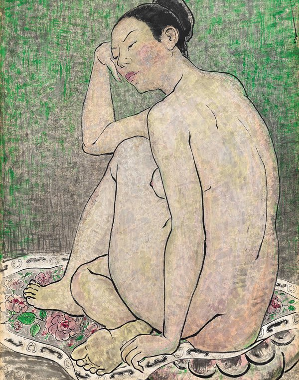 This is the work of Chinese artist, Pan Yuliang (潘玉良, 1895 – 1977). Pan became famous for being the first woman to paint in xiyanghua, (Western style), but her work on nudes was also highly controversial & drew considerable criticism.   Thread https://t.co/u5ezCyY1R3