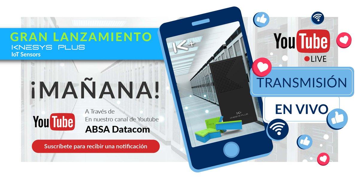 ¡No te lo pierdas MAÑANA! Te esperamos en el canal de #YouTube ABSA Datacom este miércoles a las 2:00 p.m. Estaremos completamente en vivo presentando en exclusiva esta nueva solución. #GrupoABSA https://t.co/TPwkjkF6eL #lanzamiento #live #envivo #datacenter #felizmartes #iot https://t.co/Ra1LYke36W