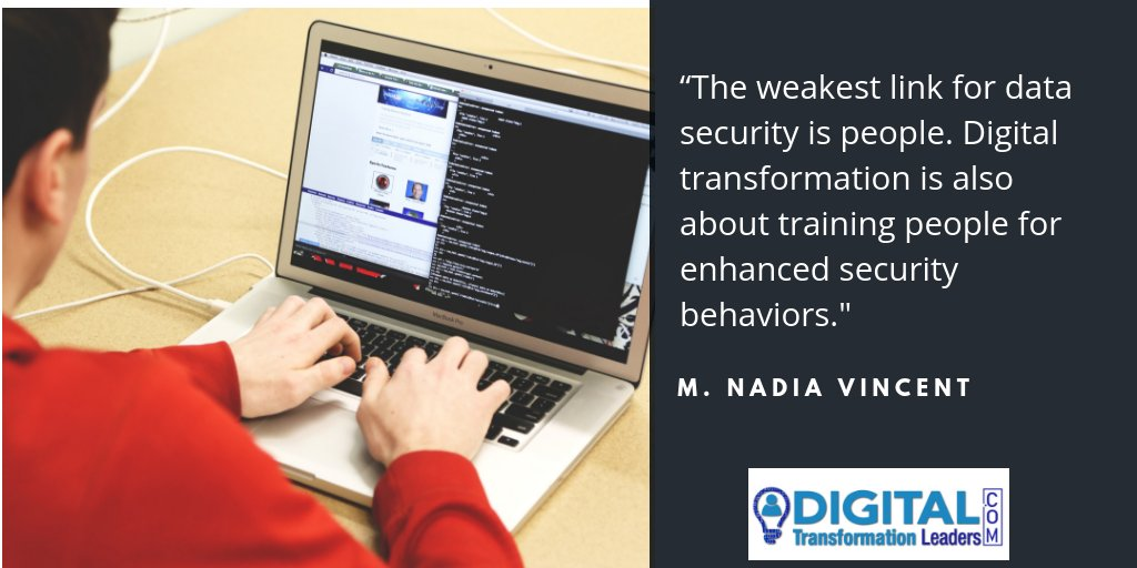 """""""The weakest link for data security is people. Digital transformation is also about training people for enhanced security behaviors.""""- M. NADIA VINCENT  #Digitaltransformation #Leadership #AI https://t.co/p7PY7fp2qt https://t.co/4GBLgq5jUM"""