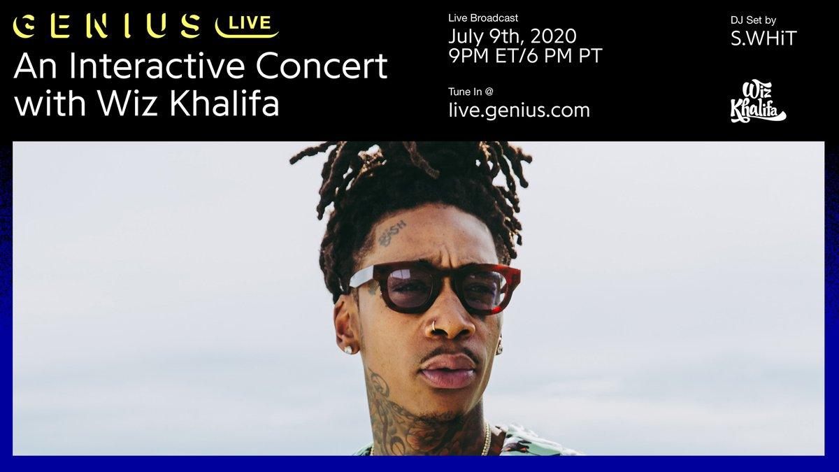 🚨 ANNOUNCING #GENIUSLIVE WITH @WIZKHALIFA  🚨  fans will be able to vote on the setlist, ask questions, and more in our first ever interactive concert experience 💻🎤  more info on the event ⬇️ https://t.co/yNyWGF4IgU https://t.co/exzP3FMcNm