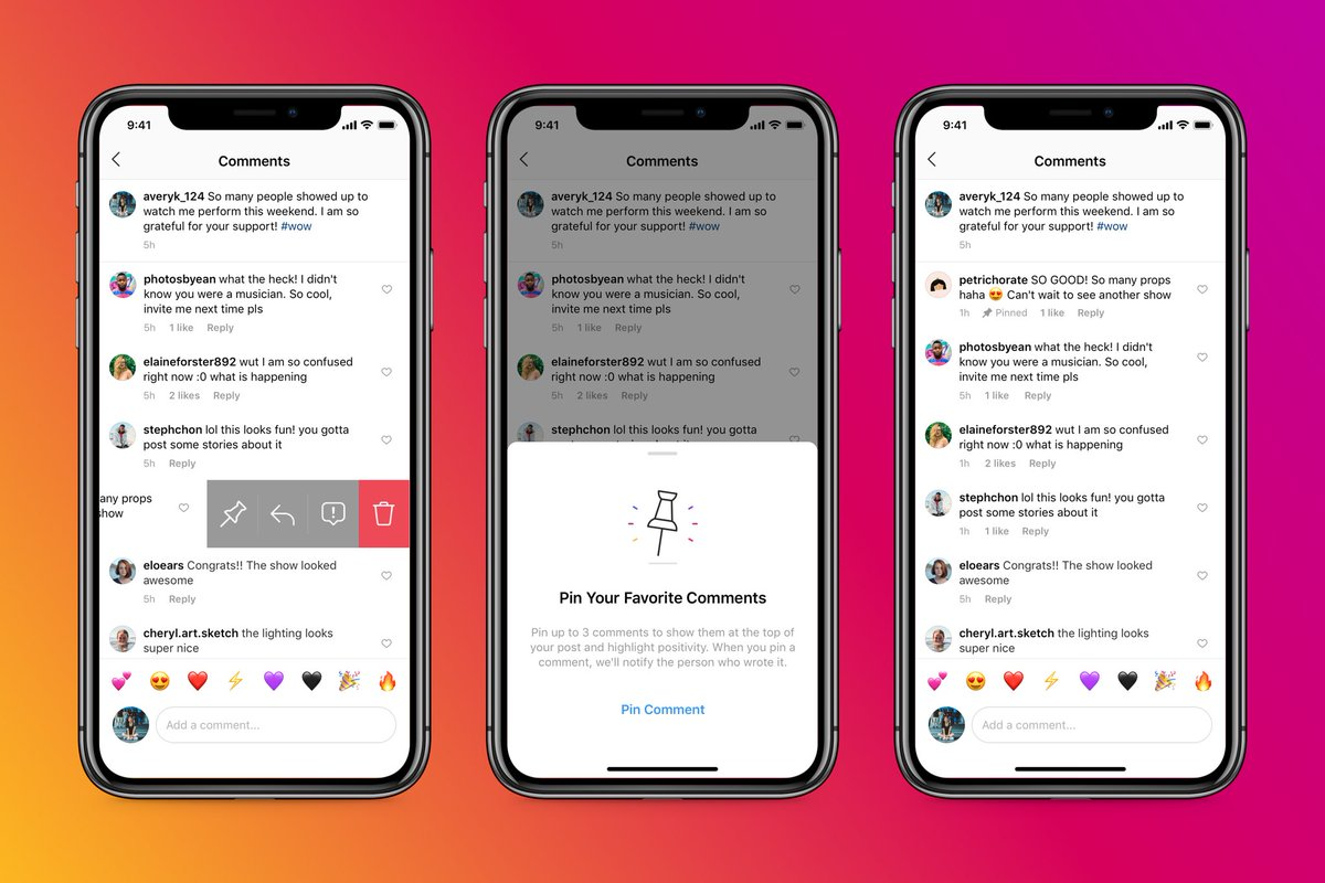 Today Instagram rolled out pinned comments everywhere 📌  That means you can a pin a few comments to the top of your feed post.  By highlighting positive comments, you can better manage the tone of the conversation. ❤️ https://t.co/VYjgeu3Kuq