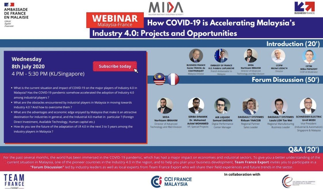 "Secure your spots now! Join @OfficialMIDA and @businessfrance on ""How COVID-19 is Accelerating Malaysia's Industry 4.0: Projects and Opportunities"". The #webinar will be happening today, 8 July 2020 at 4.00 pm. @CCIFranceMsia #LesConseillersduCommerceextérieurdelaFrance. https://t.co/mXYhuPiU2v"