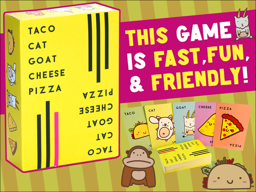 Check out this game by @DolphinHatGames! Taco Cat Goat Cheese Pizza is sure to bring some card slapping belly laughs to your table. The best thing about it? Anyone can play! Find out why everyone is RAVING about this TOP SELLING game and get in on the action! #boardgames https://t.co/c4BDO91Rwu