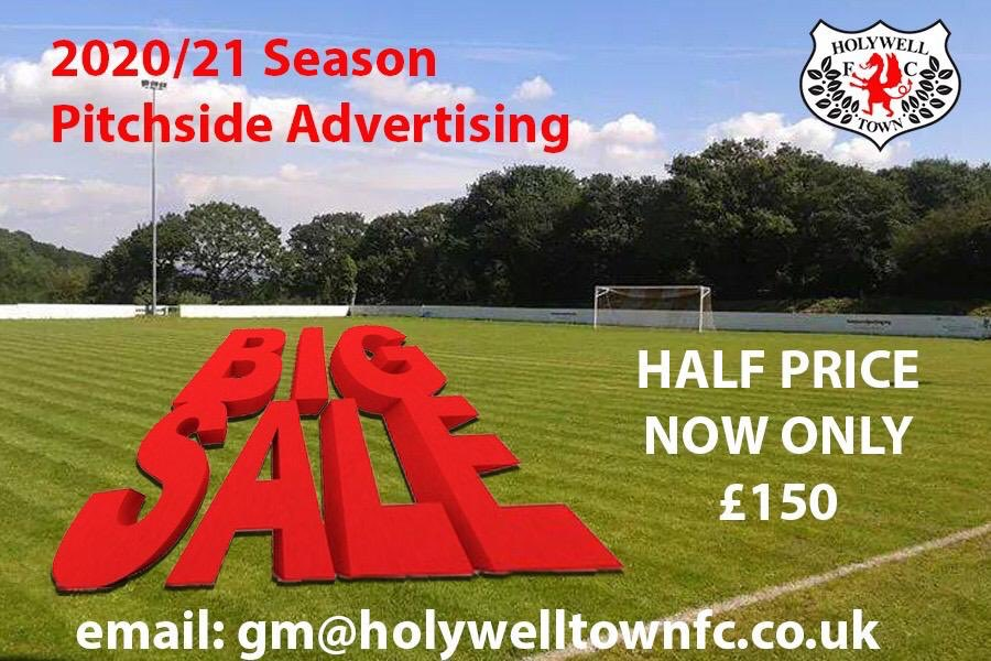 Holywell Town FC Pitch side advertising now reduced by 50% and only £150 for the season. Obviously this is a very difficult time to try and push this but any local businesses or people on here wanting to help support your local football club then please get in touch. #wellmen 🔴