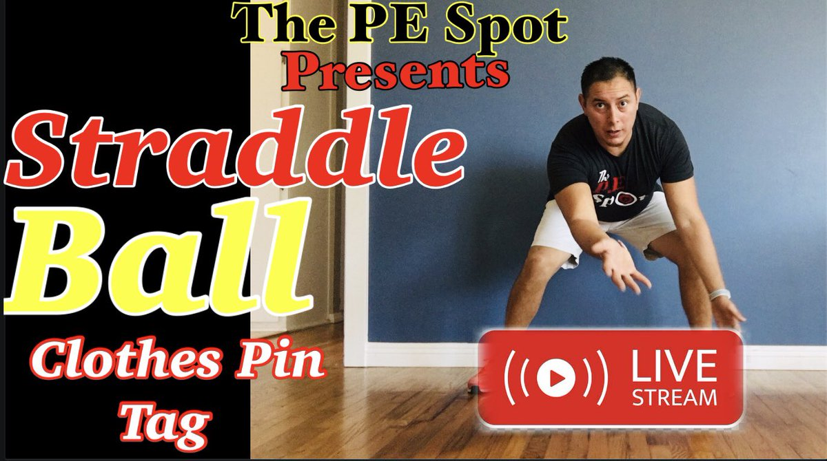 PE Lesson: Straddle Ball/Clothes Pin Tag Skills developed: striking, strategy, and cardiovascular endurance Full vid: youtu.be/Yq78mHZxHP8 #thepespot #peforall #activitiesforkids #gamesforkids #distancelearning #peathome #physed #livestream #livestreamnewbie