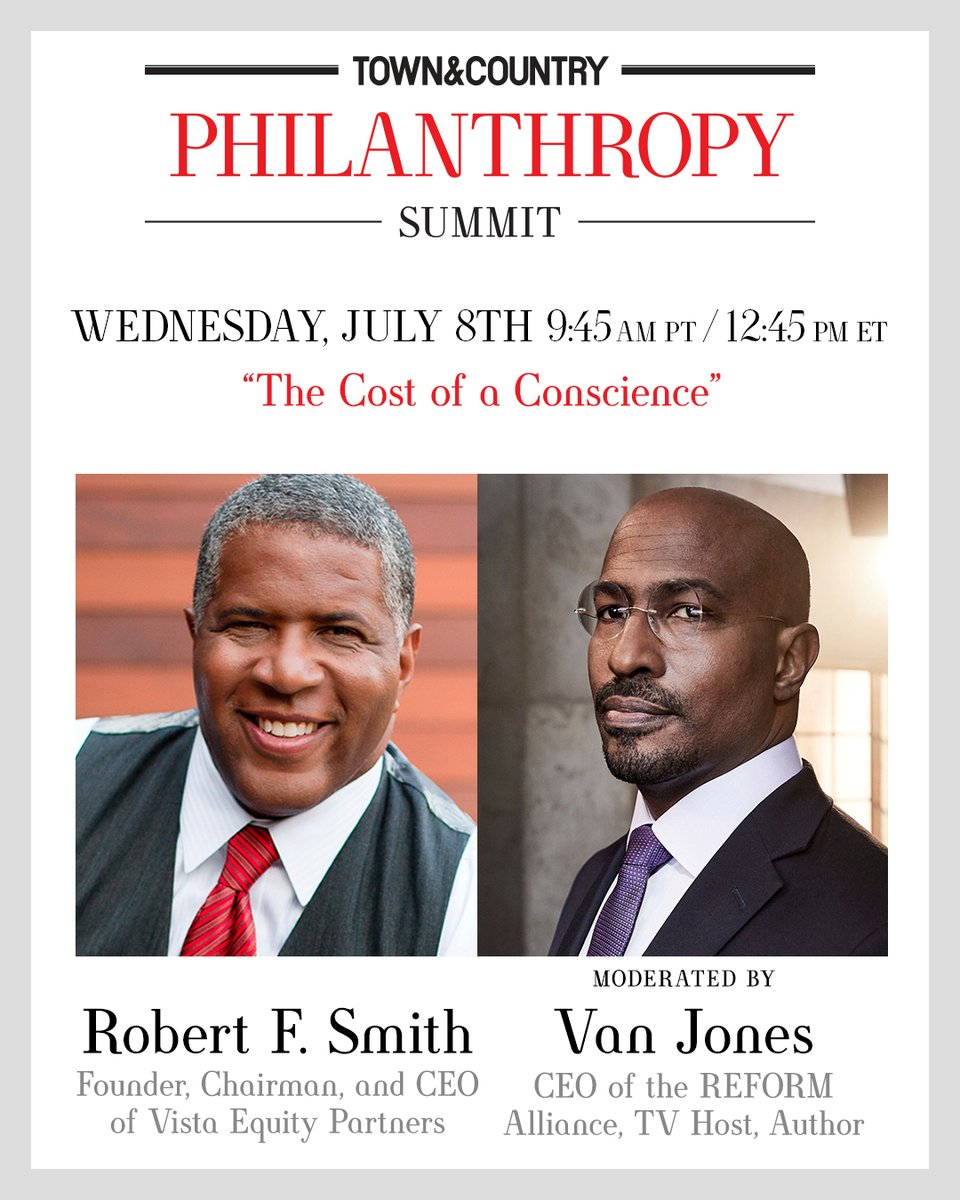 TOMORROW: @vanjones68 will be speaking with philanthropist & REFORM founding board member @RFS_Vista about his charitable giving for @TandCmag. Tune in to the summit here: tandcphilanthropy.com #TandCPhilanthropy