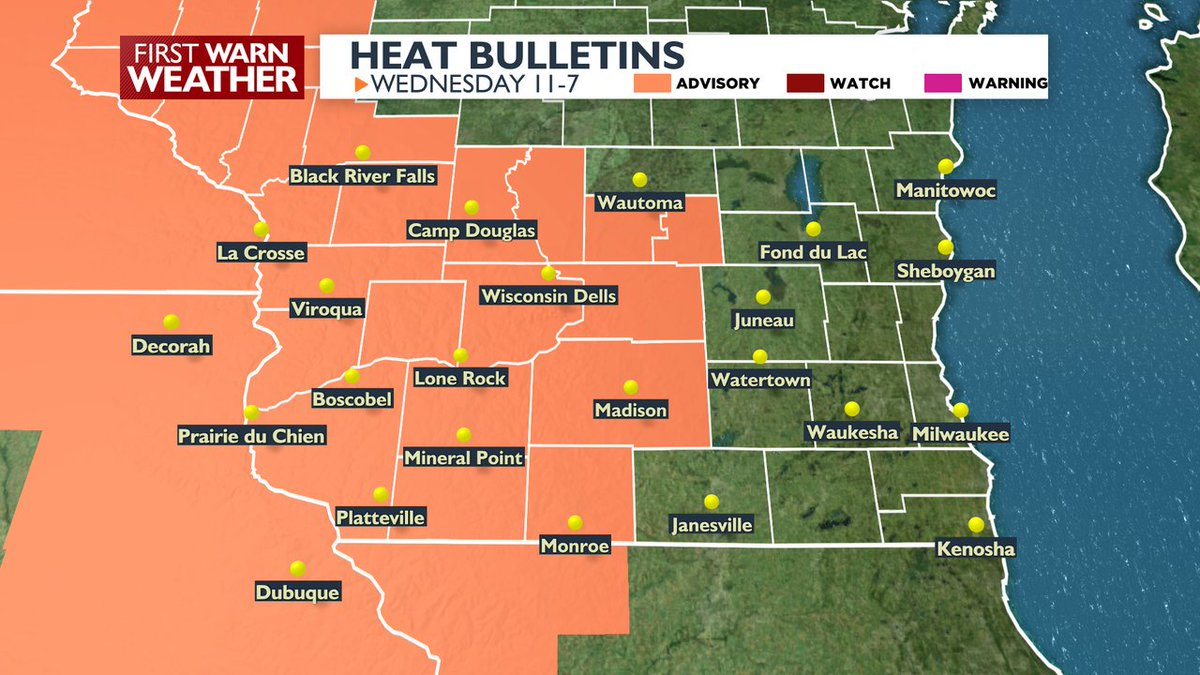 And the heat goes on ... A Heat Advisory is in effect Wednesday from 11AM-7PM for southwestern Wisconsin. More on your forecast: https://t.co/PZPSNXQ1y4 https://t.co/c6VoGeEABg