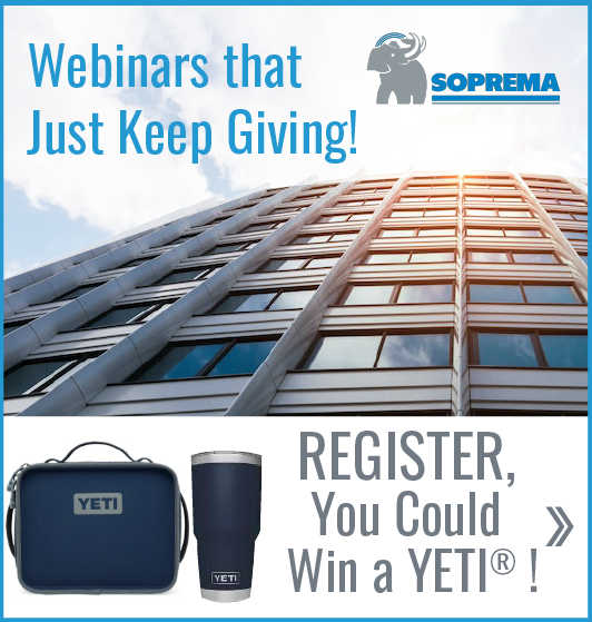 Do you want to grow your #buildingenvelope knowledge and skills AND earn a chance to win a @Yeti prize pack? Sign up NOW for this #AIA-approved SOPREMA USA #webinars before July 31. Learn more: https://t.co/ig4LMDfDZF #SOPREMA #roofing #prizepack #lifelonglearning https://t.co/L4G9SOo7ql