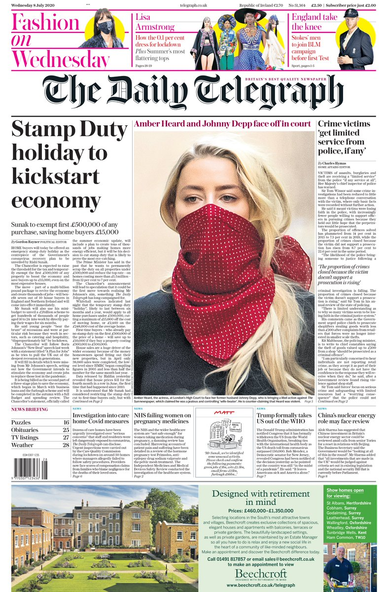 "Tomorrow's Telegraph front page: ""Stamp Duty holiday to kickstart economy"" #TomorrowsPapersToday"