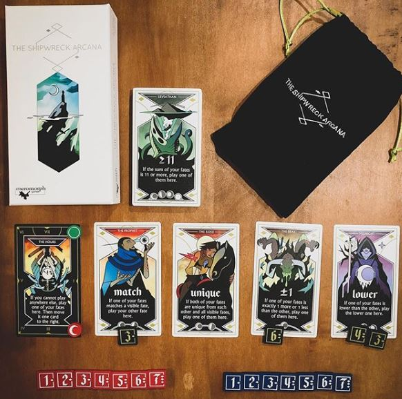 #ShipwreckArcana by @MeromorphGames. This absolutely beautiful coop 2017 game of using logic & deduction to guess their partners fates to win - unless doom gets you first! I could easily put the card art on my wall 😍🥰!  #boardgames #tabletopgames #tabletop https://t.co/7Rz5MOzD4C