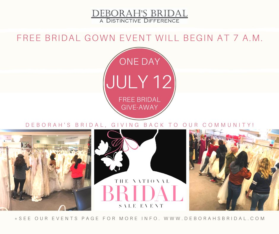 COUNTDOWN TO SUNDAY Deborah's Bridal Is Giving Back To Our Community!  This Sun, July 12th @7am for the Biggest & Best Bridal Gown Give-Away of 2020 in So Cal *entrance fee $50pp #deborahsbridal #bride #bridetobe #wedding #weddingdress #brides #love #weddinggown #GiveawayAlertpic.twitter.com/FcCwm3BLmk