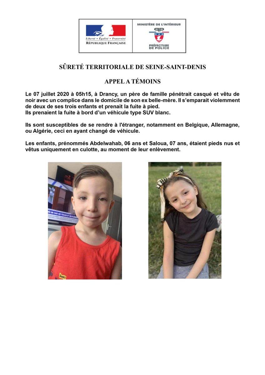 🇫🇷 ALERTE - À DIFFUSER : 2 enfants ont été enlevés à #Drancy par leur père avec un complice. L'homme, dangereux, peut s'enfuir en #Belgique, en #Allemagne ou en #Algérie. Les 2 enfants (6 et 7 ans) étaient pieds nus et en culotte lorsqu'ils ont été enlevés. (pref. #police) #Paris https://t.co/AkRJ1Cnqxd