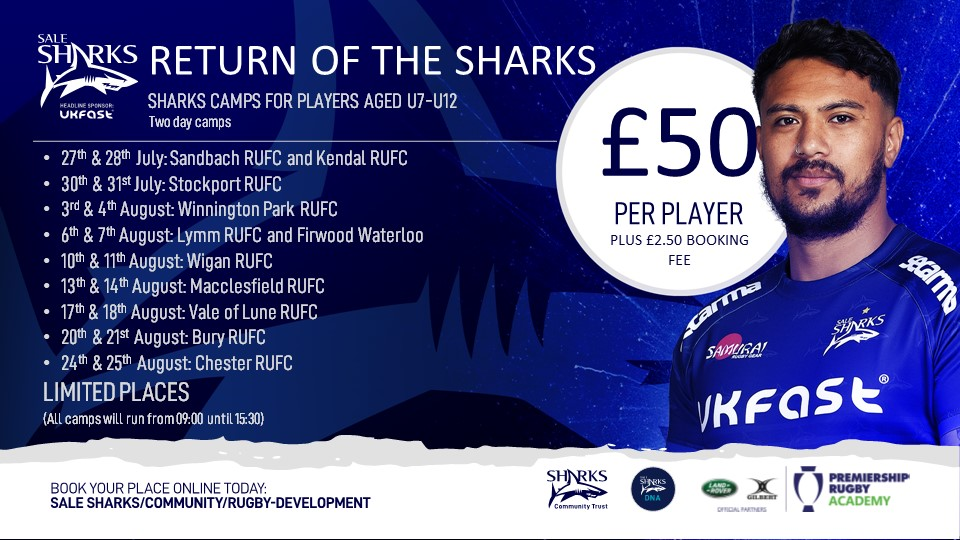test Twitter Media - We are pleased to welcome back the Summer Sharks Camp with @SaleSharksRugby and @SharksCommunity taking place at @MaccRUFC Priory Park 13th/14th August 2020.  Limited places.  Book now!!! https://t.co/nE8uiypb6O