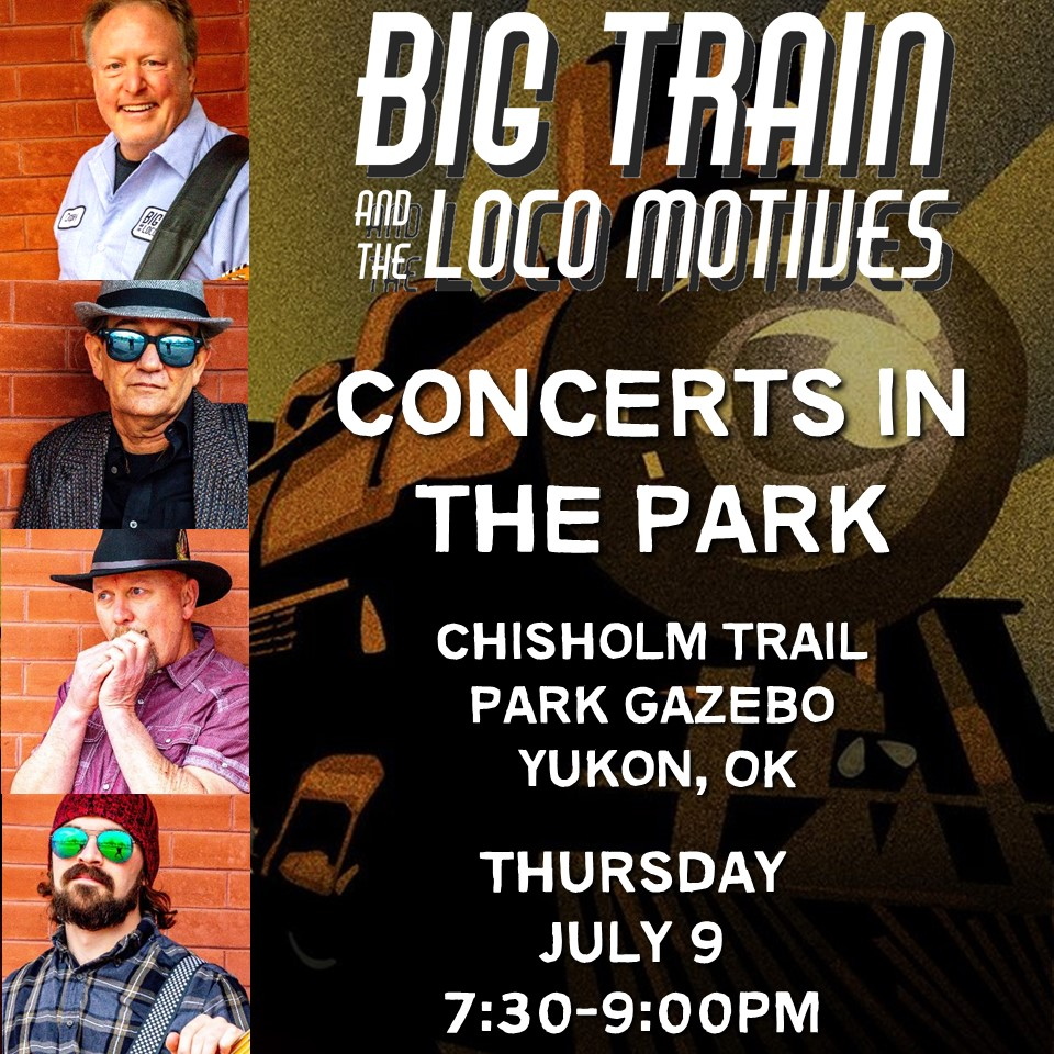 """GIG ALERT!!! Hey Loco Fans - SO happy to be part of Yukon's summer concert series """"Concerts In The Park"""". The event is Thursday, July 9 from 7:30-9:00 pm at the Chisholm Trail Park Gazebo, Yukon, OK. SEE YOU THERE!  #Blues #BluesMusic #BluesGuitar #okclivemusic #oklahomamusicpic.twitter.com/D6q3ATQOLC"""
