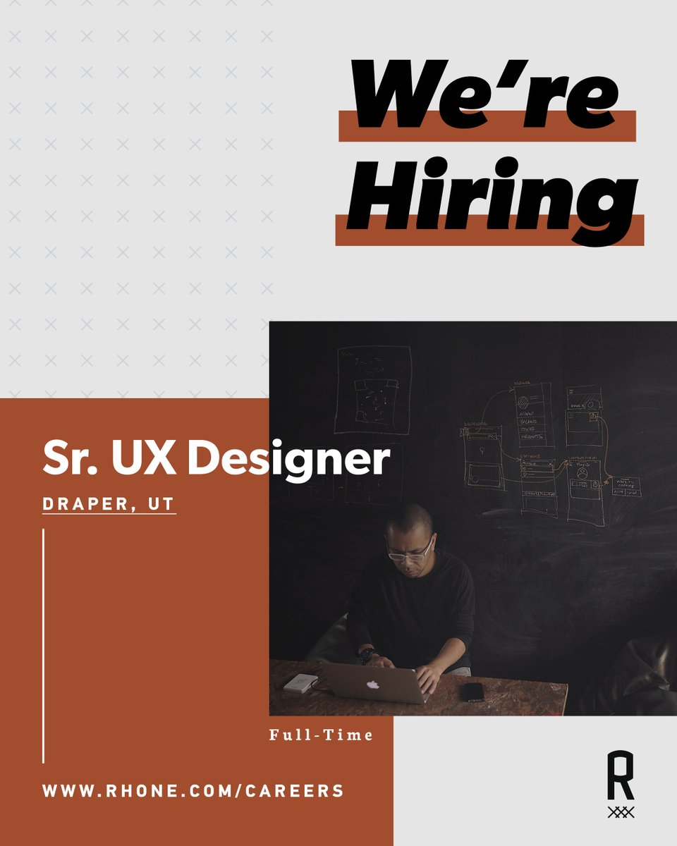 Rhone On Twitter Rhone Is Hiring A Senior User Experience Ux Designer Click Here To Learn More And Apply Https T Co Fobjelxlbu