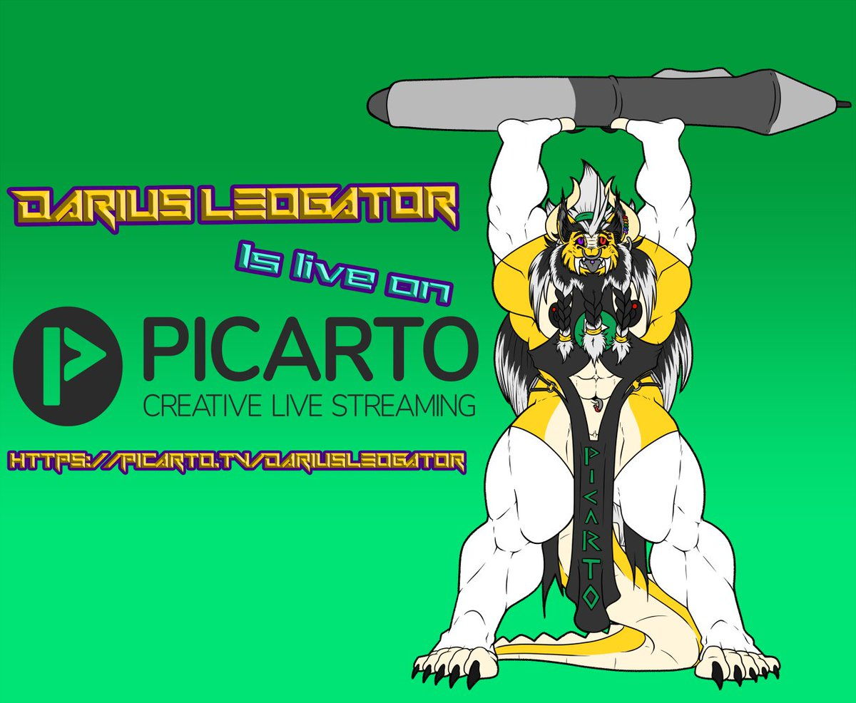 Hey guys! Im going live on picarto with a Dualstream! ill be streaming with :explicitalicon: once again! Im also playing a TV series in my stream. So come on in, and enjoy some art! picarto.tv/DariusLeoGator