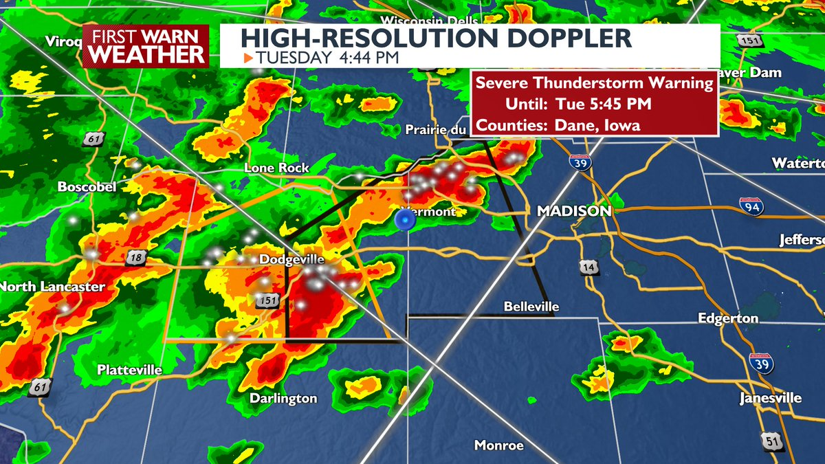 FIRST WARN WEATHER: A Severe Thunderstorm Warning has been issued for Iowa County until 5:45 p.m.  For more up-to-date weather, click here: https://t.co/nvgTRAC0wI https://t.co/oPtFYEddC1