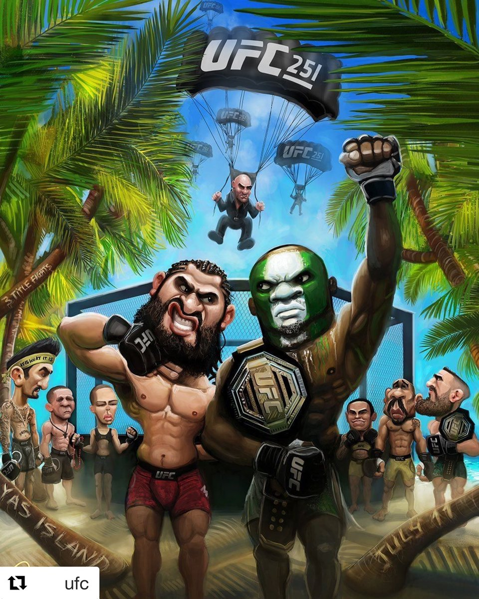 🗣I've landed in Abu Dhabi... Let the Games Begin🎙👊   #Repost @ufc post  ・・・ There's no peace on this island. 🏝 (🖌: @Dosbrak) #UFC251 https://t.co/2GzyJ8Ek2F