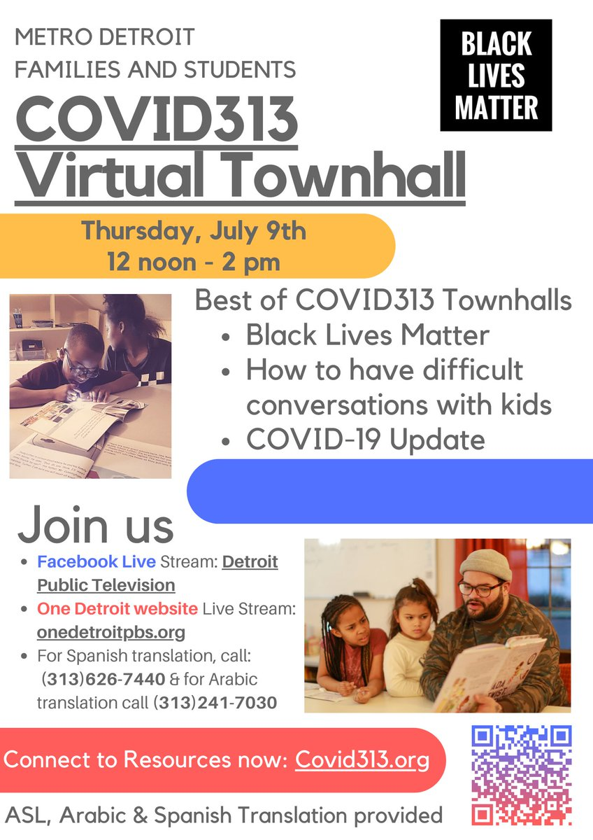See highlights from 14 weeks of COVID313 Town Halls July 9 at 12 noon ET: https://t.co/4EONYBOLKs (Translations available in Spanish, Arabic & ASL)  Share with us: - What has been most helpful to you from these virtual town hall events? - What would you like to see in the future? https://t.co/jFrKF3H5Qz