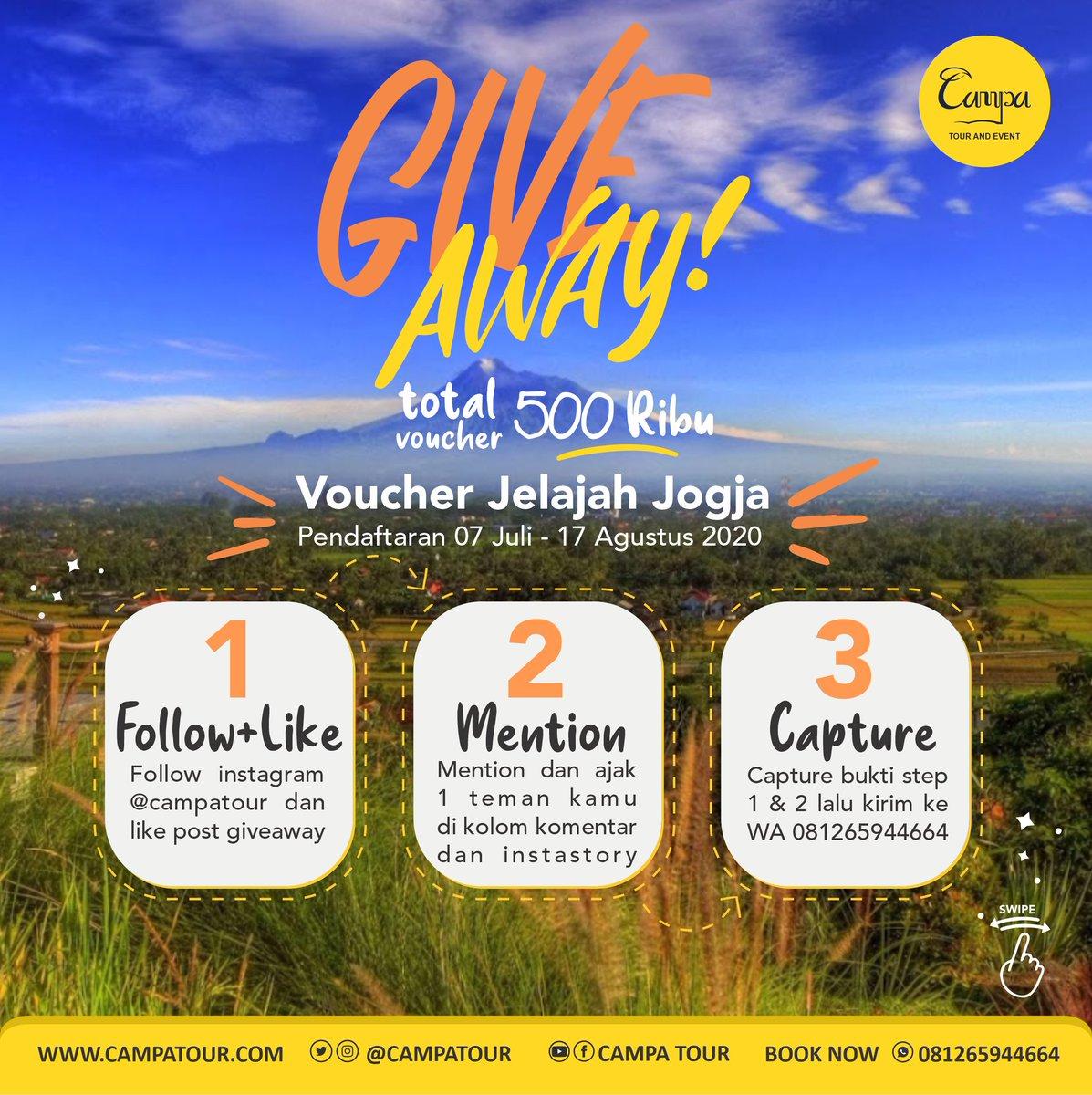 GIVEAWAY ALERT JELAJAH JOGJA TOTAL HADIAH VOUCHER IDR 500K MASA BERLAKU SATU TAHUN!   #GIVEAWAY #jogja #explorejogja #pesonajogja #pesonaindonesia #wonderfulindonesia #wonderfuljogja #exploreindonesia #merapi #borobudur #prambanan #thisisCHAN #FirstSoloistV #OVOquizpic.twitter.com/tKgU7XKigq