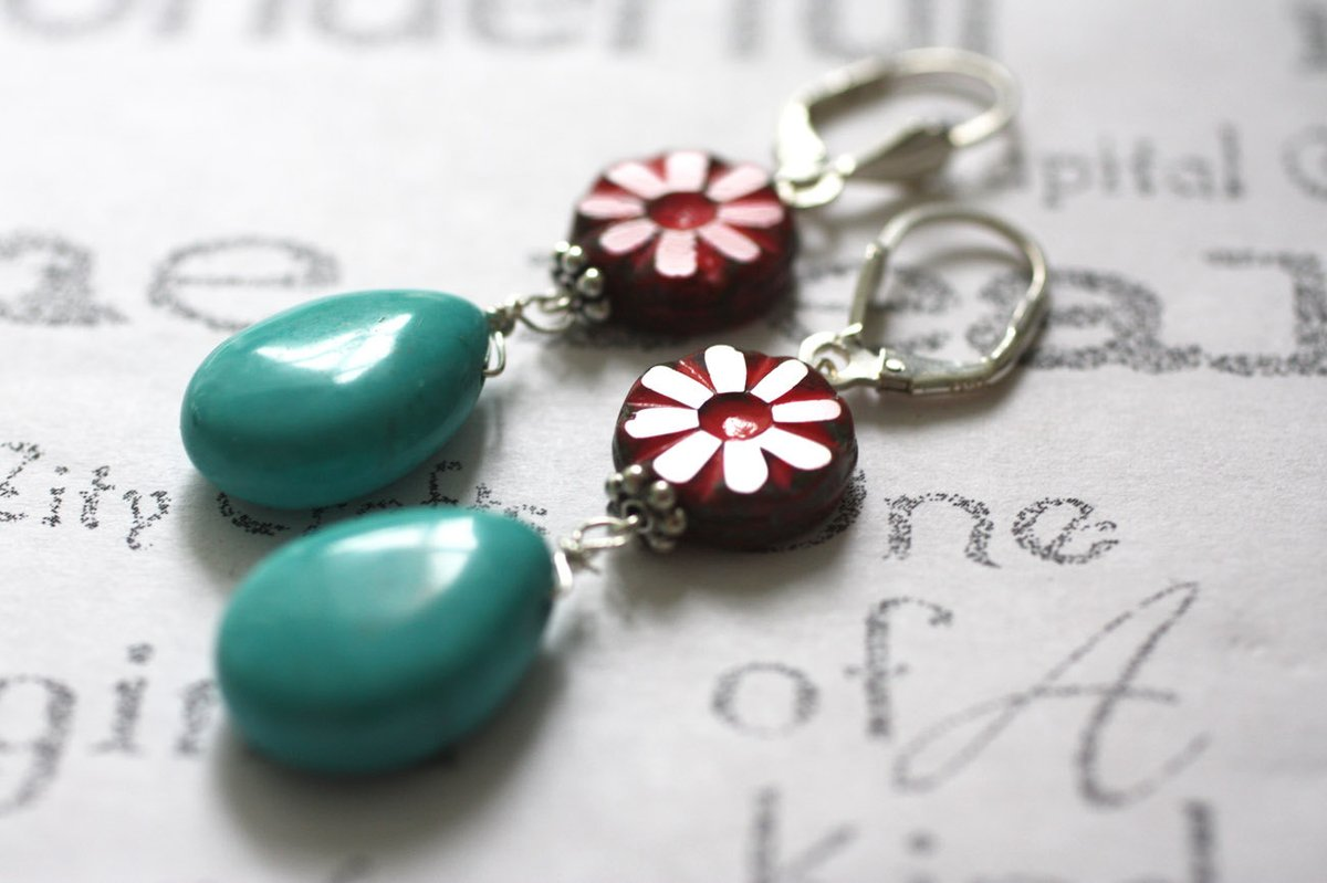 Red Glass Flower and Turquoise Earrings  Turquoise and Sterling Silver Artisan Jewelry  Gift for Woman https://etsy.me/2FEFORn #handmadeinUSA #handmadegifts #silver_jewelry #Women'SEarringspic.twitter.com/P8bauxcJKO