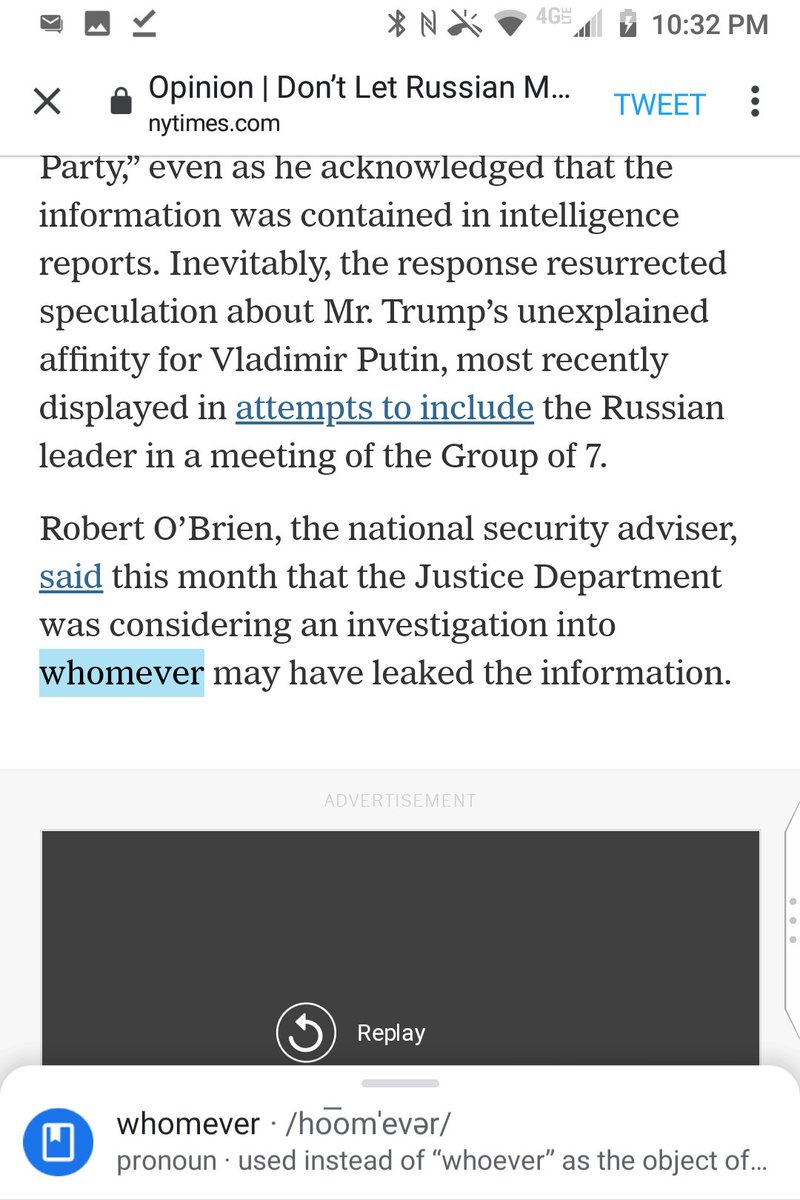 "@nytopinion ""whomever"" is a grammatical error for whoever by the editorial board in ""an investigation into whomever may have leaked the information.""  @GregBensinger @MaraGay @BCAppelbaum @mcottle @jessewegman @katiekings @BrentNYT @JInterlandi @lauren_kelley https://t.co/AVk9ESjJgQ"