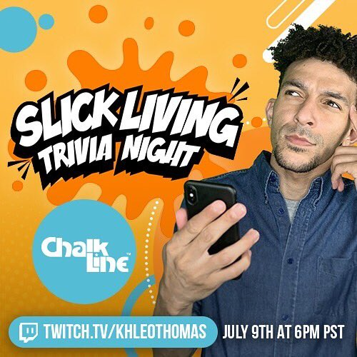 Thursday July 9th @SlickLiving Triva it's Going Down on Khleo's Twitch. Go sub & go brush up on your Nickelodeon facts & get ready. http://Twitch.tv/KhleoThomas @KhleoThomas @chalklineco #SlickLivingTriviaNight #Awarewolves #GLAM #Triva #Nickelodeon #NickFacts #KingofTwitchpic.twitter.com/aAlkCy7FBc
