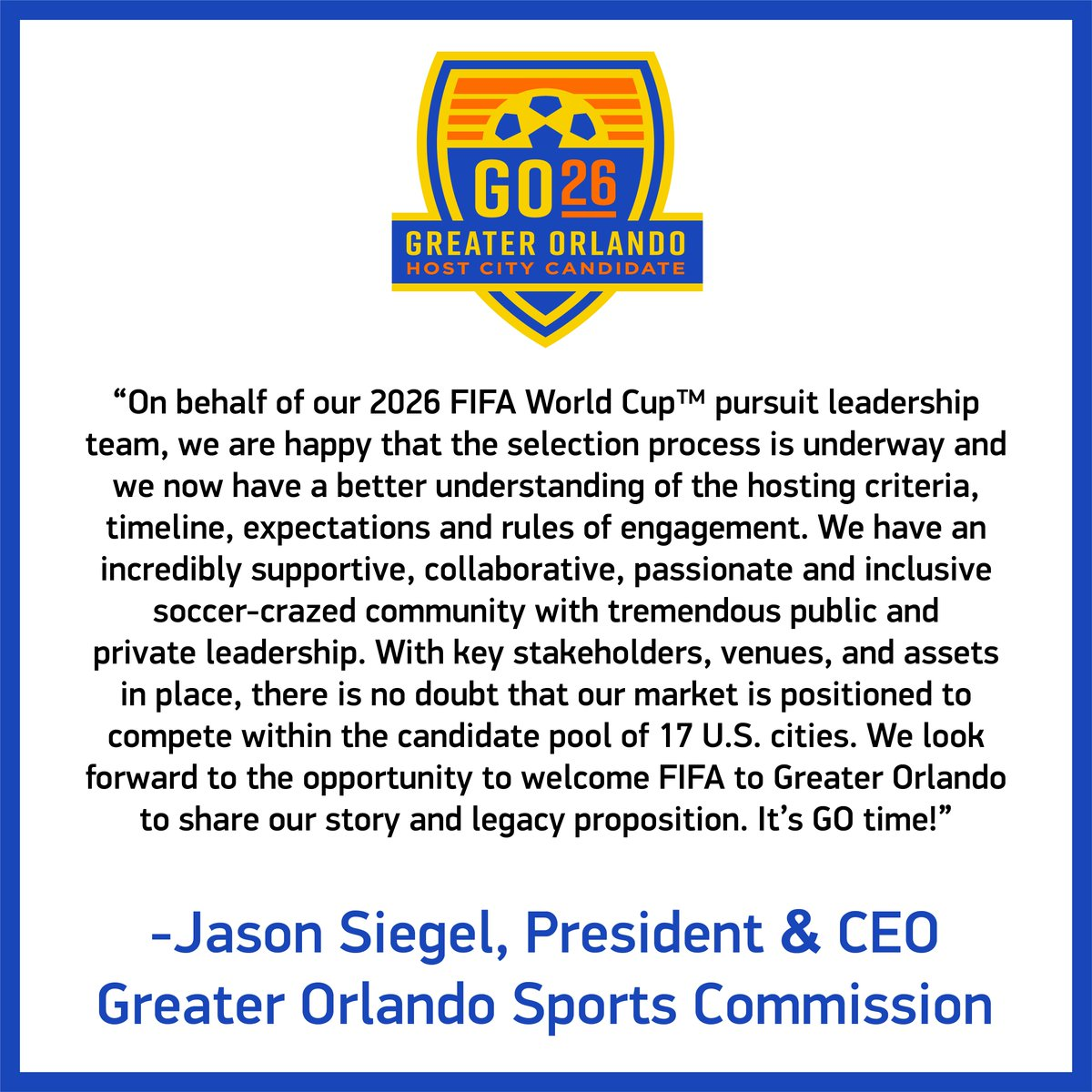 Statement from @GOSportsCEO following the conclusion of the @FIFAWorldCup 2026 Candidate Host City Workshops.   FIFA Press Release: https://t.co/oT9UQYzAnK  #GO26 #Orlando2026 https://t.co/mpzVd9E1dK