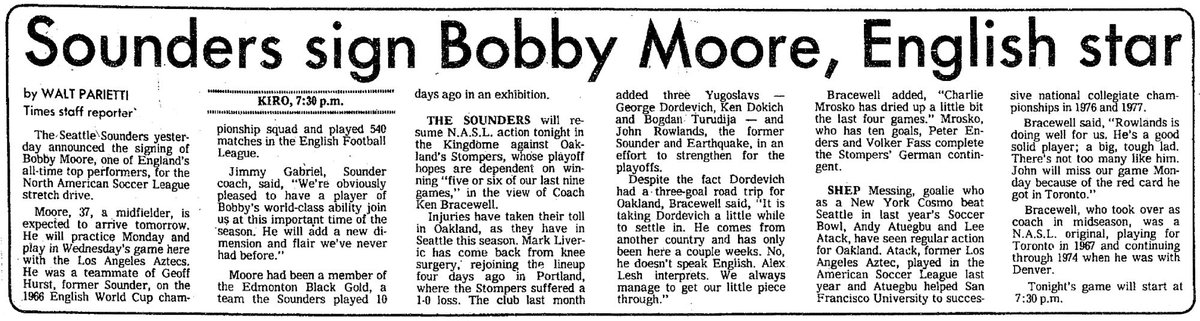 On July 7, 1978, the #Sounders signed Bobby Moore, #WestHam & #ThreeLions great who captained England to World Cup glory in 1966. Moores stay in Seattle didnt last long, but he helped the club earn fourth straight playoff berth.