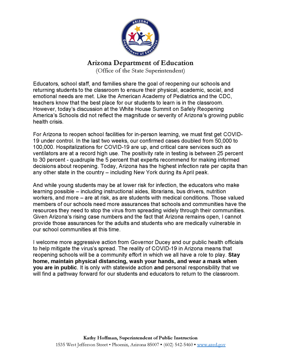 My response to today's White House Summit on Safely Reopening America's Schools: