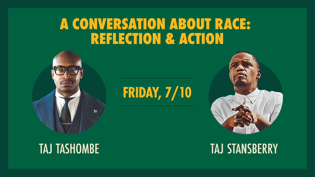 Join us this Friday for A Conversation About Race: Reflection & Action with @TajTashombe and Taj Stansberry.   Oakland native Taj Stansberry is a videographer and director best known for working with artists such as Rihanna, J Lo, Usher, Ne-Yo, and John Legend. https://t.co/ZMx6r0mW35
