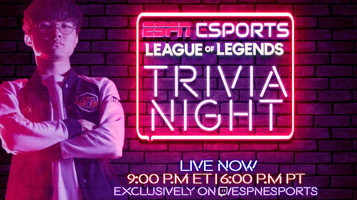 Think you know @Faker better than @FionnonFire? Come challenge him tonight in our LoL Trivia Night: Faker Edition! LIVE right now with @ggDoA, @leagueofemily, @JacobWolf and @Arda on twitch.tv/espnesports!
