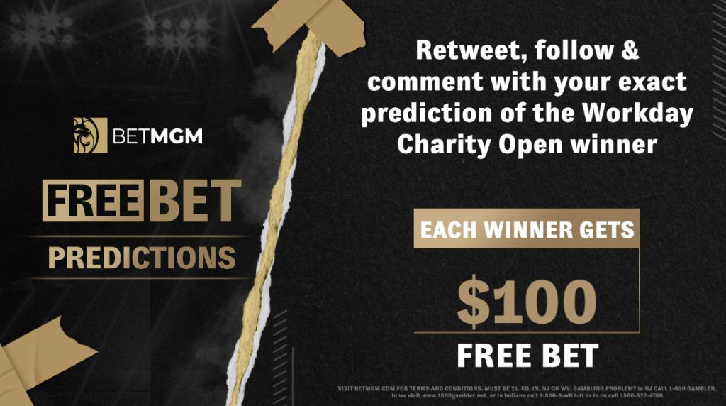 🚨 𝐅𝐑𝐄𝐄 𝐁𝐄𝐓 𝐏𝐑𝐄𝐃𝐈𝐂𝐓𝐈𝐎𝐍 🚨   Enter to win a $100 Free Bet!  How to enter: 1️⃣ Follow @BetMGM 2️⃣ Retweet this tweet 3️⃣ Comment Workday Charity Open Winner 🏌️   - Deadline: Wednesday at 8p ET - One entry per person - T&Cs apply https://t.co/jopYPVYovv