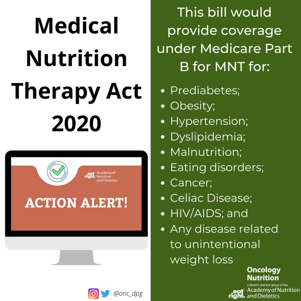 Passage of the MNT Act would allow outpatient RDNs to bill for MNT provided to patients with cancer, expanding potential opportunities for RDNs to work in outpatient cancer clinics.  Take action now by: Urging Senators to support access to medical nutrition therapy<br>http://pic.twitter.com/PeSLccmvF1