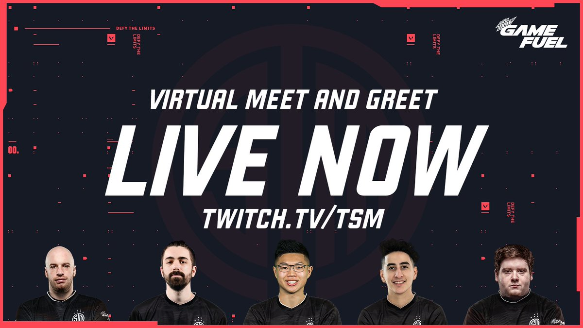 Our @GameFuel Virtual Meet and Greet is now LIVE 🔴 Join us for a live Q&A with our VALORANT team. → twitch.tv/tsm 📺