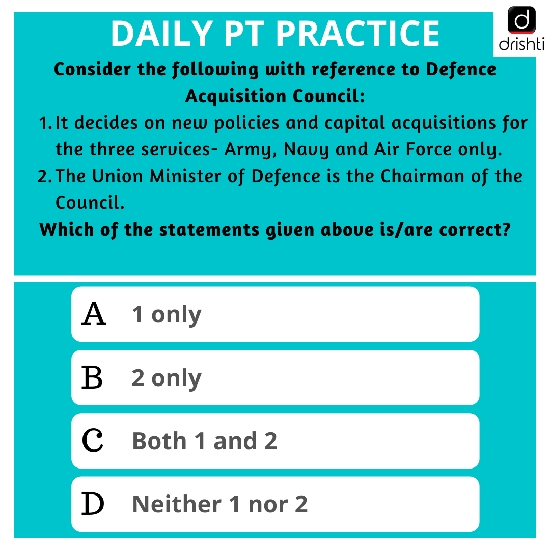 Here is today's PT Practice Question, answers will be posted after 2 hours. Best of luck!  https://www.drishtiias.com/daily-updates/daily-news-analysis/new-defence-weapons-approved…  #UPSC2020 #UPSCPrelims #CurrentAffairsToday #UPSCNewsAnalysis #CurrentAffairs #currentaffairs2020 #DrishtiIASEnglish #DrishtiIASpic.twitter.com/M7kOvJVkgt