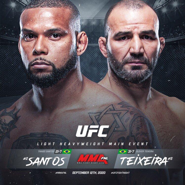 REPORT:  📑 #UFCTBD 🗓 09.12.20  Light Heavyweight Main Event: Thiago Santos [ @TMarretaMMA ]  x Glover Teixeira[ @gloverteixeira ]   Story by @MMAFighting x @MMAFightingSM   🔗 https://t.co/W9netfcaw1  Originally reported by @espnmma https://t.co/NaN9PmKORc