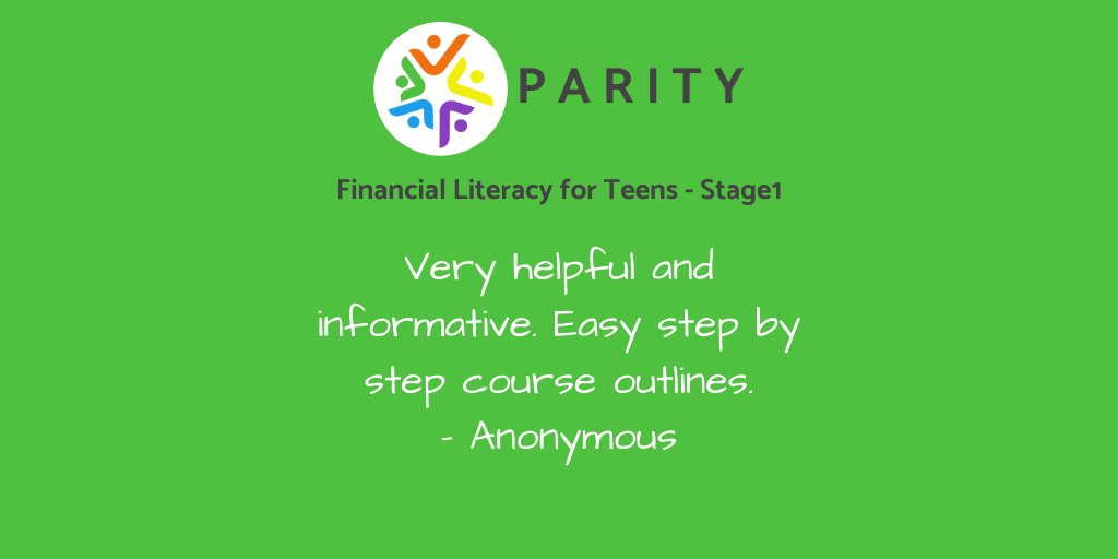 Register your interest in Financial Literacy for Teens Stage 1 for your students here: https://bit.ly/2Bfu0UU  #parity_ed #education #moneyhabits #moneybiases #practicalaction #financialliteracy #financialawareness #financialeducation pic.twitter.com/jyRzBNuhNi