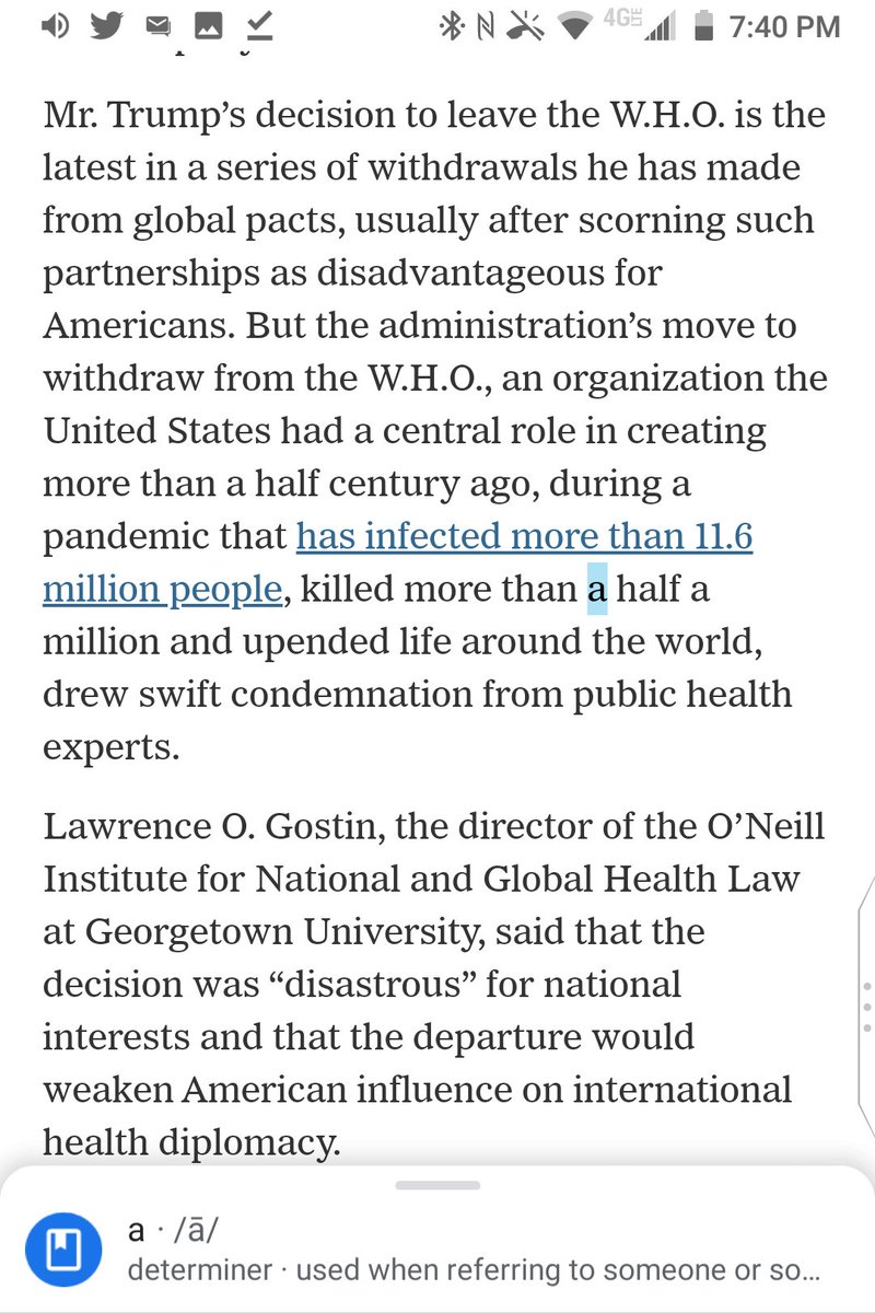 "@nytimes ""a half a million"" is a grammatical error for ""a half million"" or ""half a million"" in ""a pandemic that has infected more than 11.6 million people, killed more than a half a million and upended life around the world.""  @katierogers @apoorva_nyc https://t.co/mT5HLxhpHz"