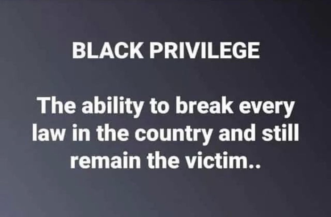 #BlackPrivilege is the ability to break the law in the country and still be the victim!! #StopTheMadness #AllLivesMatter #WhiteLivesMatters !! #LiberalismIsTheRealPandemic pic.twitter.com/DjRWeZ1RUU