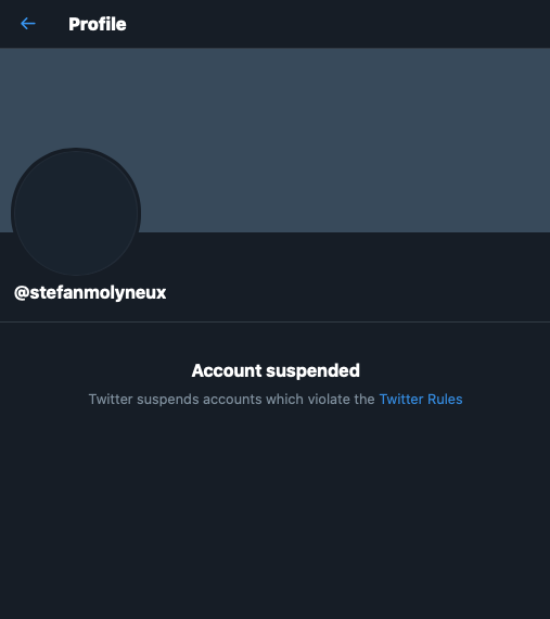 It appears Stefan Molyneux's account has just been suspended by Twitter.