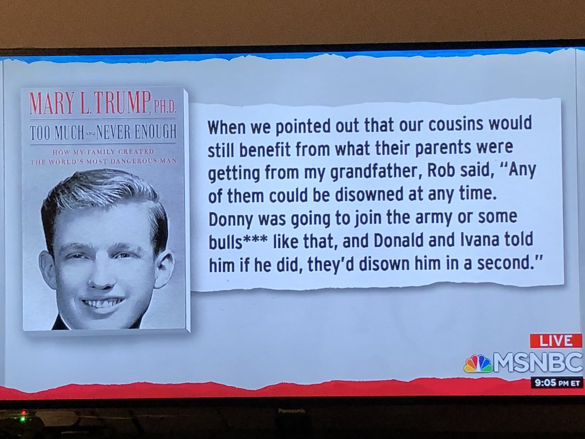 Trump threatened to disown any of his kids if they signed up to serve in the military. @MaddowBlog #TrumpIsANationalDisgrace