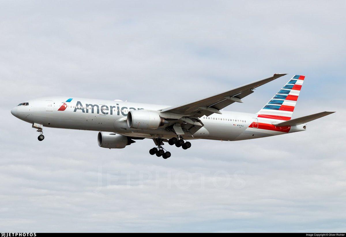 #Dato. Este miércoles tendremos por Ezeiza al Boeing 777-223(ER) de American Airlines, matrícula N767AJ, de 14.3 años. Llegará a las 06:05 procedente de Miami (MIA/KMIA) 🇺🇸  Otros #Datos -Vuelo: AA 9707 -Partida de EZE 🇦🇷: 22:30 (08/07) https://t.co/S6ZkOaWjDJ