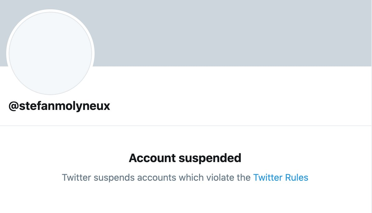 White nationalist @stefanmolyneux has been permanently suspended from Twitter, a week after he was banned from YouTube. https://t.co/ilYKPd861R