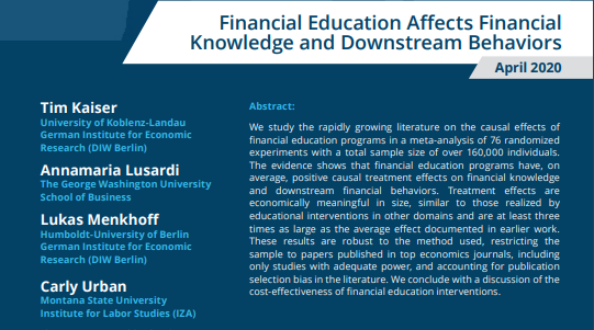 Some of the leading researchers in the field concluded in a meta-analysis of studies covering 33 countries that #FinancialEducation CAN have positive effects on knowledge & behavior. This could have big ramifications on #FinancialLiteracy.   https://financialeducation.uchicago.edu/news-and-media/newsletter-sections/84…pic.twitter.com/h1hivEE1bB