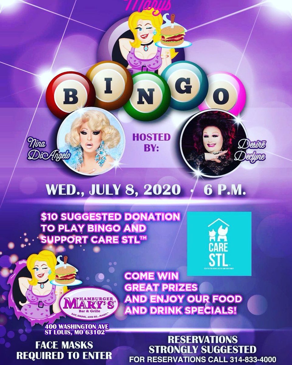 THANK YOU Hamburger Mary's for raising money for #shelterdogs at BINGO this Wednesday!#HamburgerMarys is a restaurant & all ages are welcome! Reservations encouraged & ALL the money raised from Bingo goes to @care_stl !#stl #hamburgermarysstl #bingo #charity #bingorulespic.twitter.com/sWnflLxSeb