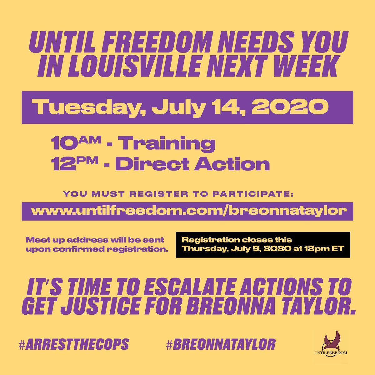 Time to escalate.  It's been 116+ days since #BreonnaTaylor was murdered by the Louisville Police.  Not one single police officer has been held accountable.  Time to put our bodies on the line. See you in Louisville next week.  #ArrestTheCops https://t.co/aAav8IXIsd
