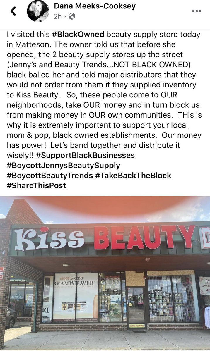 This is happening in the south suburbs of CHICAGO, IL. Matteson to be specific. Stop going to Jenny's & Beauty Trends. Kiss Beauty deserves our support and our money.   Address is: 4451 Lincoln Hwy Matteson, IL  60443 United States <br>http://pic.twitter.com/i949OKx7Hs