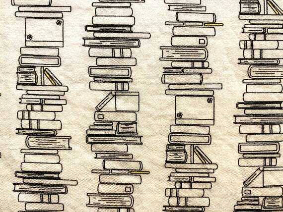 Fat Quarter Book Stacks Black and White 100% Cotton Fabric | DIY Face Mask | 1/4 Yard  | Add Elastic by inspirationalgoodies #handmade #etsy https://ift.tt/2AI7BzMpic.twitter.com/CdTVPeEOSL